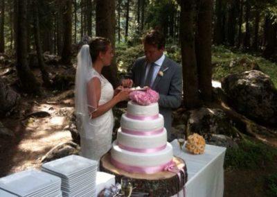 5Bruidstaart , bruidspaar in het bos